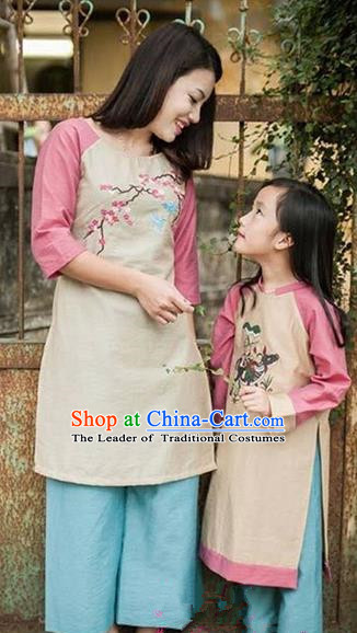 Top Grade Asian Vietnamese Traditional Dress, Vietnam National Farmwife Ao Dai Dress, Vietnam Embroider Plum blossom Ao Dai Cheongsam Mother-child Dress Clothing for Woman