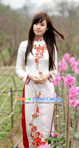 Top Grade Asian Vietnamese Traditional Dress, Vietnam National Farmwife Ao Dai Dress, Vietnam White Embroidered Ao Dai Cheongsam Dress Clothing for Woman