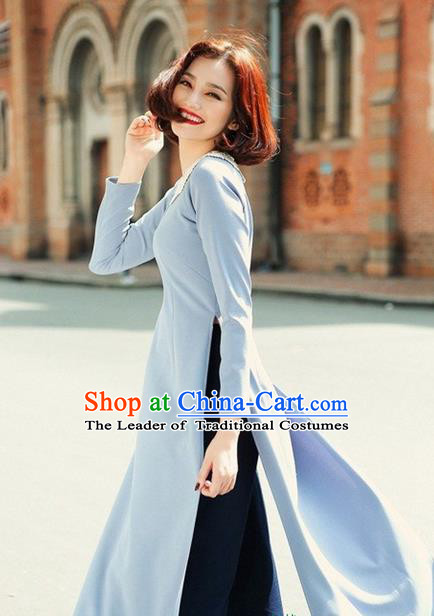 Top Grade Asian Vietnamese Traditional Dress, Vietnam National Farmwife Ao Dai Dress, Vietnam Ao Dai Cheongsam Dress Clothing for Woman