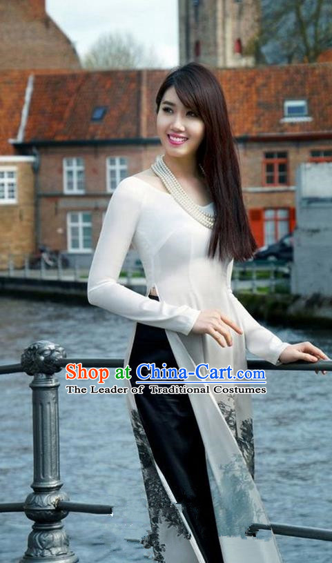 Top Grade Asian Vietnamese Traditional Dress, Vietnam National Princess Ao Dai Dress, Vietnam Bride White Printing Ao Dai Cheongsam Dress Clothing for Woman