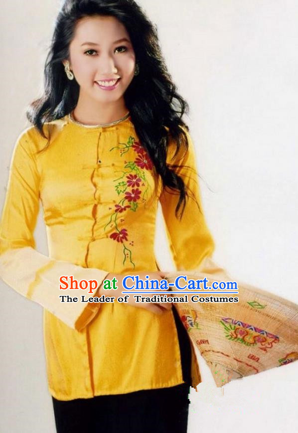 Top Grade Asian Vietnamese Traditional Dress, Vietnam National Farmwife Ao Dai Dress, Vietnam Golden Ao Dai Blouse and Pants for Woman