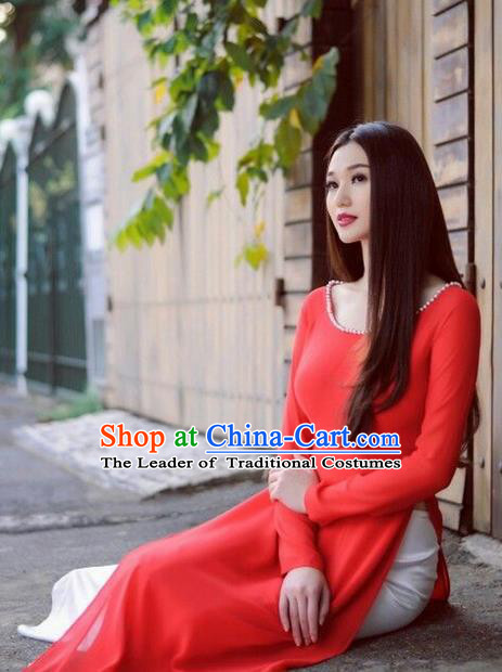 Top Grade Asian Vietnamese Traditional Dress, Vietnam National Farmwife Ao Dai Dress, Vietnam Red Ao Dai Cheongsam Dress for Woman