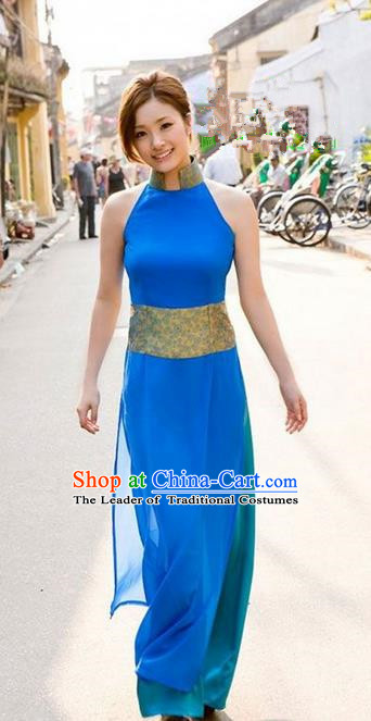 Top Grade Asian Vietnamese Traditional Dress, Vietnam National Farmwife Ao Dai Dress, Vietnam Blue Ao Dai Cheongsam Full Dress for Woman