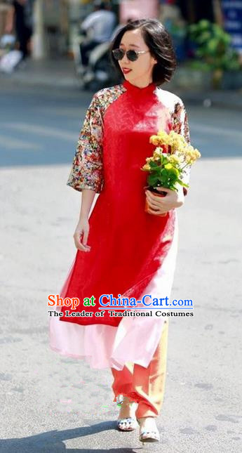 Top Grade Asian Vietnamese Traditional Dress, Vietnam National Farmwife Ao Dai Dress, Vietnam Blue Ao Dai Cheongsam Full Dress Clothing for Woman