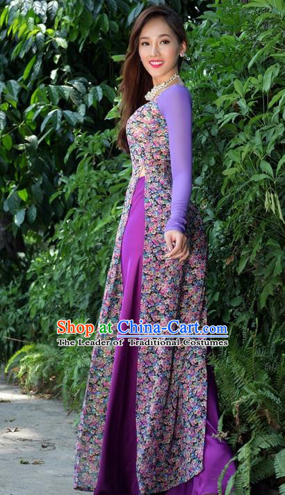 Top Grade Asian Vietnamese Traditional Dress, Vietnam National Princess Ao Dai Dress, Vietnam Purple Printing Ao Dai Cheongsam Dress and Pants Clothing for Woman