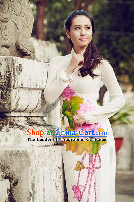 Top Grade Asian Vietnamese Traditional Dress, Vietnam National Princess Ao Dai Dress, Vietnam Printing Lotus Ao Dai Cheongsam Dress and Pants Clothing for Woman