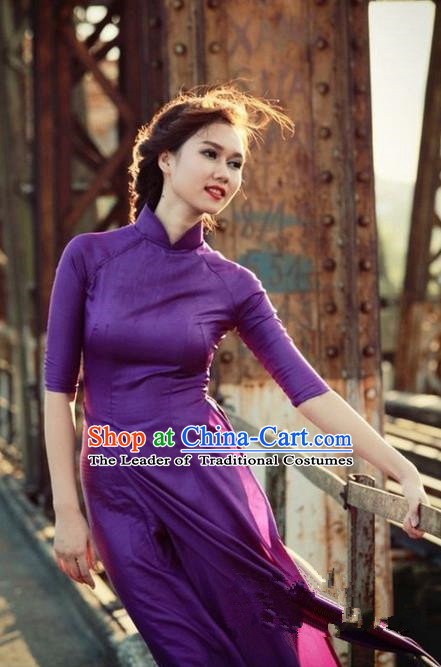 Top Grade Asian Vietnamese Traditional Dress, Vietnam National Princess Ao Dai Dress, Vietnam Purple Ao Dai Cheongsam Dress Clothing for Woman