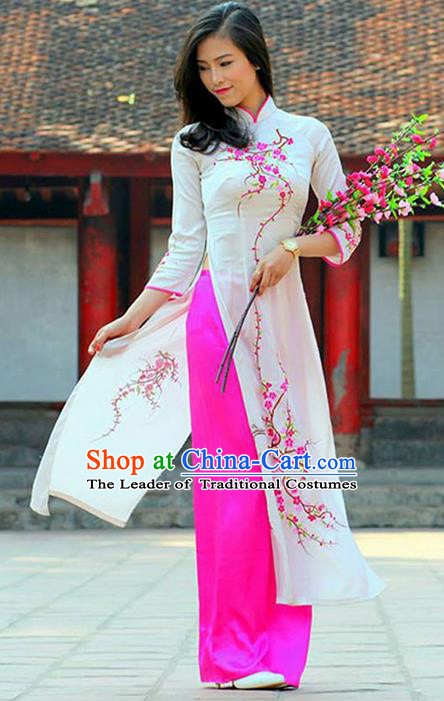 Top Grade Asian Vietnamese Traditional Dress, Vietnam National Princess Ao Dai Dress, Vietnam White Embroidered Ao Dai Cheongsam Dress and Pants Clothing for Woman