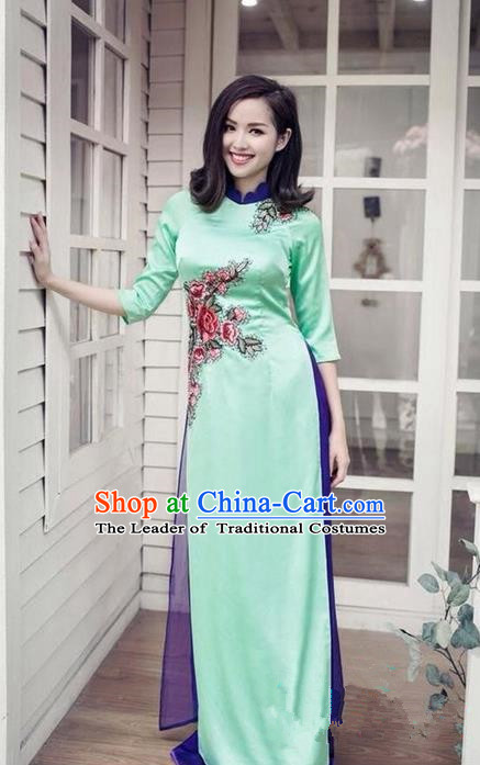 Top Grade Asian Vietnamese Traditional Dress, Vietnam National Princess Ao Dai Dress, Vietnam Green Patch Embroidered Ao Dai Cheongsam Dress and Pants Clothing for Woman