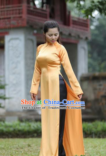 Top Grade Asian Vietnamese Traditional Dress, Vietnam National Princess Ao Dai Dress, Vietnam Orange Ao Dai Cheongsam Dress Clothing for Woman
