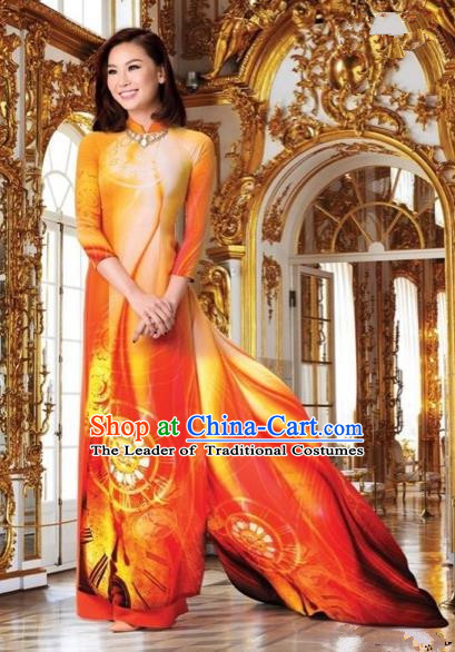 Top Grade Asian Vietnamese Traditional Dress, Vietnam National Queen Ao Dai Dress, Vietnam Palace Princess Orange Printing Ao Dai Cheongsam Dress Clothing for Woman