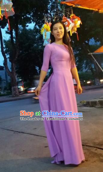 Top Grade Asian Vietnamese Traditional Dress, Vietnam National Queen Ao Dai Dress, Vietnam Palace Princess Purple Chiffon Ao Dai Cheongsam Dress Clothing for Woman