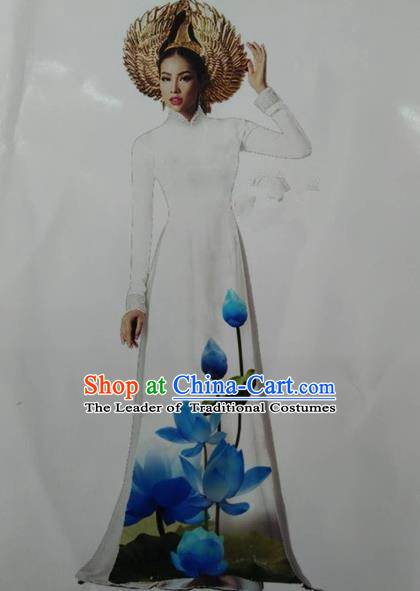 Top Grade Asian Vietnamese Traditional Dress, Vietnam National Queen Ao Dai Dress, Vietnam Palace Princess White Printing Lotus Ao Dai Cheongsam Dress Clothing for Woman