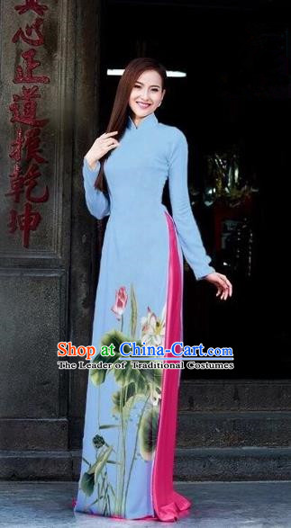 Traditional Top Grade Asian Vietnamese Dress, Vietnam National Female Ao Dai Dress Women Blue Printing Lotus Cheongsam Clothing