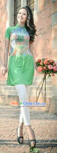 Traditional Top Grade Asian Vietnamese Dress, Vietnam National Female Ao Dai Dress Women Green Printing Cheongsam Clothing