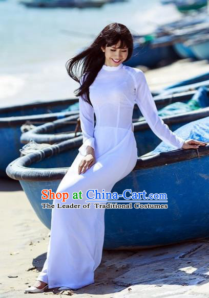 Traditional Top Grade Asian Vietnamese Dress, Vietnam National Female Ao Dai Dress Women White Cheongsam and Pants Clothing Complete Set