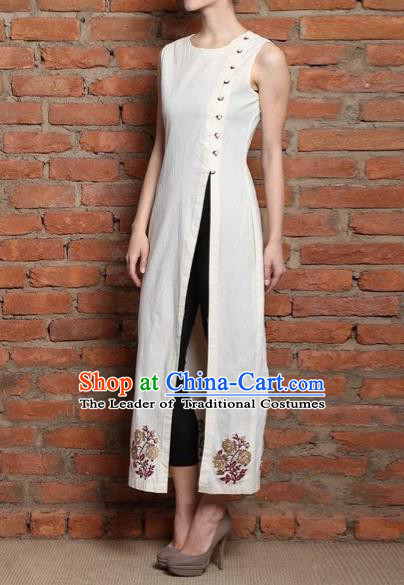 Traditional Top Grade Asian Vietnamese Dress, Vietnam National Female Ao Dai Dress Women White Embroidered Cheongsam Clothing