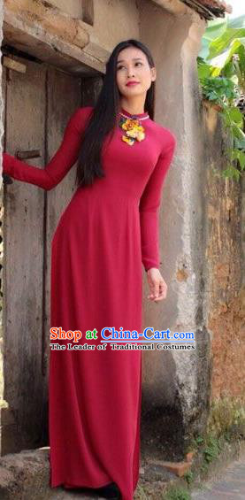 Traditional Top Grade Asian Vietnamese Dress, Vietnam National Female Ao Dai Dress Women Red Embroidered Suit Cheongsam Clothing