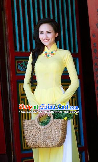 Traditional Top Grade Asian Vietnamese Dress, Vietnam National Female Ao Dai Dress Women Yellow Embroidered Suit Cheongsam Clothing