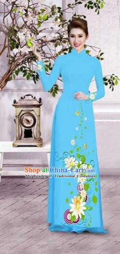 Traditional Top Grade Asian Vietnamese Dress, Vietnam National Female Ao Dai Dress Women Blue Printing Flowers Suit Cheongsam Clothing