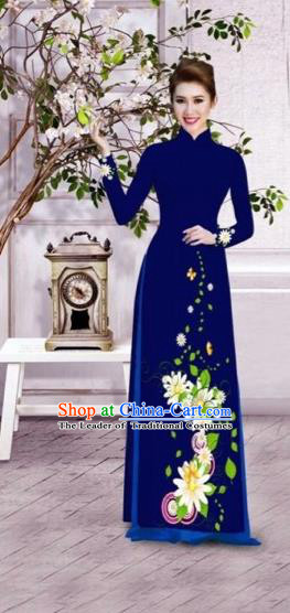 Traditional Top Grade Asian Vietnamese Dress, Vietnam National Female Ao Dai Dress Women Royalblue Printing Flowers Suit Cheongsam Clothing