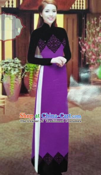 Traditional Top Grade Asian Vietnamese Dress, Vietnam National Female Ao Dai Dress Women Purple Printing Suit Cheongsam Clothing