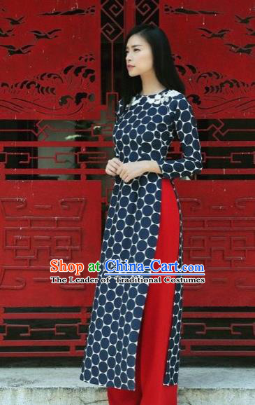 Traditional Top Grade Asian Vietnamese Dress, Vietnam National Female Ao Dai Dress Women Navy Ao Dai Cheongsam Clothing