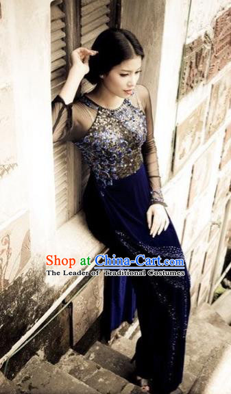 Traditional Top Grade Asian Vietnamese Dress, Vietnam National Female Handmade Ao Dai Dress Women Lace Full Dress Ao Dai Cheongsam Clothing