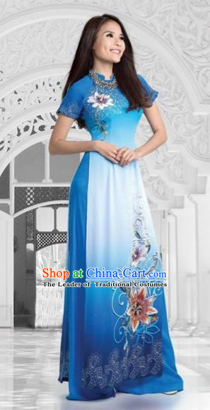Top Grade Asian Vietnamese Traditional Dress, Vietnam National Queen Ao Dai Dress, Vietnam Palace Princess Blue Printing Lotus Ao Dai Cheongsam Dress Clothing for Woman