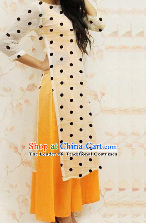 Traditional Top Grade Asian Vietnamese Dress, Vietnam National Female Handmade Ao Dai Dress Women White Dress Ao Dai Cheongsam Clothing