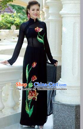 Traditional Top Grade Asian Vietnamese Dress, Vietnam National Female Handmade Ao Dai Dress Women Black Chiffon Printing Dress Ao Dai Cheongsam Clothing