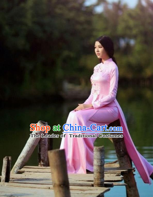 Traditional Top Grade Asian Vietnamese Dress, Vietnam National Female Handmade Ao Dai Dress Women Pink Dress Ao Dai Cheongsam Clothing