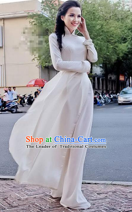 Traditional Top Grade Asian Vietnamese Dress, Vietnam National Female Handmade Ao Dai Dress Women White Full Dress Ao Dai Cheongsam Clothing