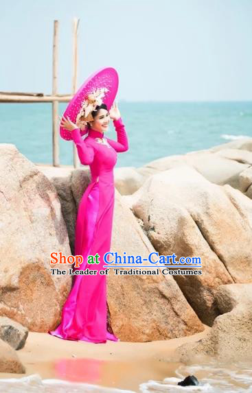 Traditional Top Grade Asian Vietnamese Dress, Vietnam National Female Handmade Ao Dai Dress Women Cheongsam Clothing and Hat Complete Set