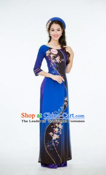 Traditional Top Grade Asian Vietnamese Dress, Vietnam National Female Handmade Ao Dai Dress Women Royalblue Cheongsam Clothing