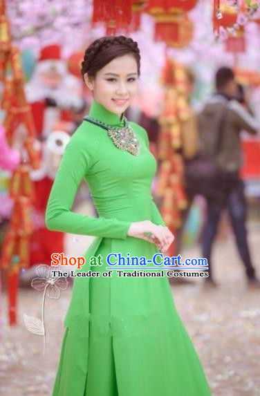 Traditional Top Grade Asian Vietnamese Dress, Vietnam National Female Handmade Ao Dai Dress Women Green Cheongsam Clothing