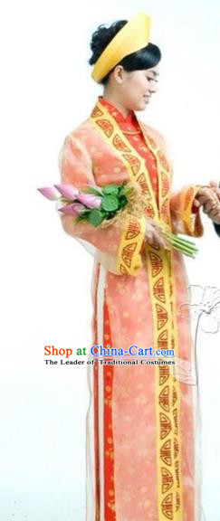 Traditional Top Grade Asian Vietnamese Dress, Vietnam National Female Handmade Ao Dai Dress Bride Wedding Cheongsam Clothing