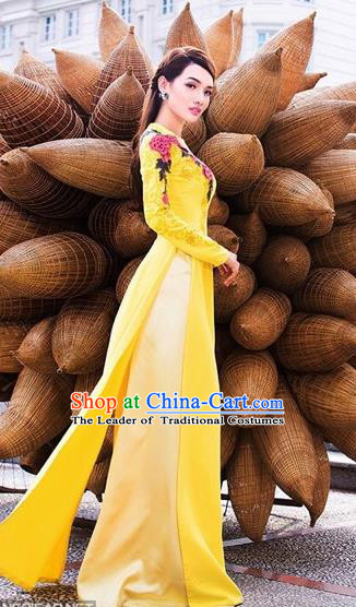 Traditional Top Grade Asian Vietnamese Dress, Vietnam National Female Handmade Ao Dai Dress Bride Wedding Yellow Chiffon Cheongsam Clothing