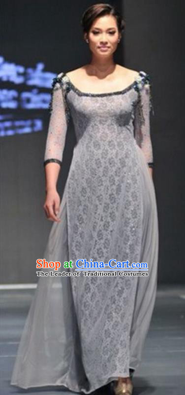 Traditional Top Grade Asian Vietnamese Dress, Vietnam National Female Handmade Ao Dai Dress Bride Wedding Grey Printing Cheongsam Clothing