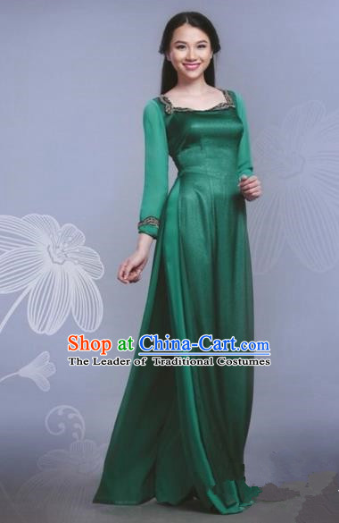 Traditional Top Grade Asian Vietnamese Dress, Vietnam National Female Handmade Ao Dai Dress Bride Wedding Green Silk Cheongsam Clothing