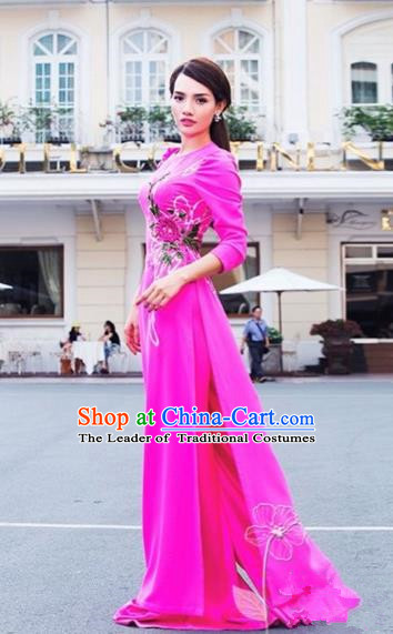 Traditional Top Grade Asian Vietnamese Dress, Vietnam National Female Handmade Ao Dai Dress Bride Wedding Embroidered Flowers Rose Cheongsam Clothing