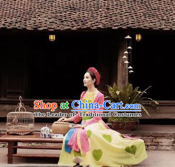 Traditional Top Grade Asian Vietnamese Dress, Vietnam National Female Handmade Ao Dai Dress Bride Wedding Printing Cheongsam Clothing