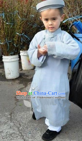 Traditional Top Grade Asian Vietnamese Dress, Vietnam National Boys Handmade Grey Clothing Children Suits