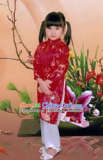 Traditional Top Grade Asian Vietnamese Dress, Vietnam National Girls Handmade Red Clothing Cheongsam and Pants Complete Set for Children