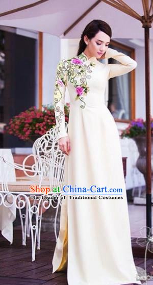 Traditional Top Grade Asian Vietnamese Costumes, Vietnam National Female Handmade Ao Dai Dress Bride Wedding Cheongsam White Clothing for Women