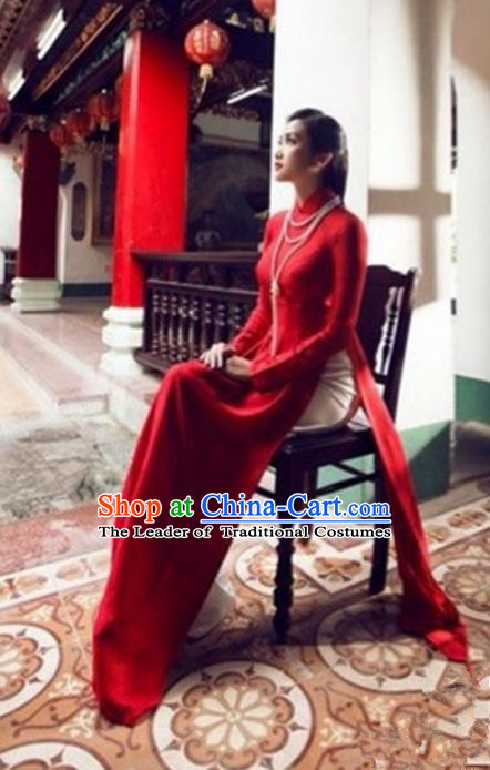 Traditional Top Grade Asian Vietnamese Costumes Red Full Dress, Vietnam National Female Handmade Ao Dai Dress Cheongsam Clothing for Women