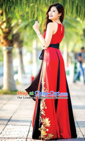 Traditional Top Grade Asian Vietnamese Costumes, Vietnam National Female Handmade Red Chiffon Ao Dai Dress Cheongsam Clothing for Women