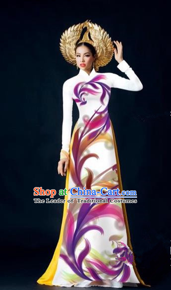 Traditional Top Grade Asian Vietnamese Costumes Dance Dress, Vietnam National Female Handmade White Printing Ao Dai Dress Cheongsam Clothing for Women