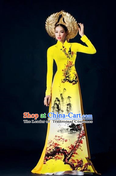 Traditional Top Grade Asian Vietnamese Costumes Dance Dress, Vietnam National Female Handmade Yellow Printing Ao Dai Dress Cheongsam Clothing for Women