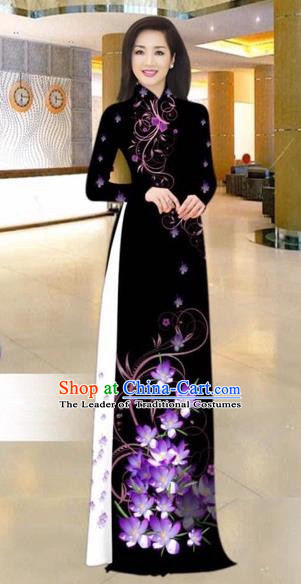 Traditional Top Grade Asian Vietnamese Costumes Dance Dress, Vietnam National Female Handmade White Silk Printing Ao Dai Dress Cheongsam Clothing for Women